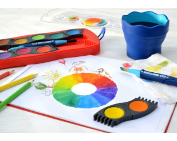 125031 Faber-Castell Farbkasten Connector 24 Farben Wasserfarben Schule